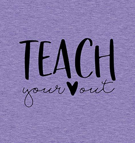 Anbech Women Teacher Shirts Teach Your Heart Letter Print Tops Short Sleeve Teachers Day Gift Blouse (A-Purple, S)