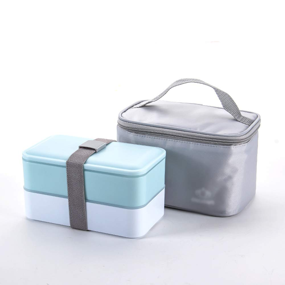 Lunch Box, 2-Layer Portable Large-Capacity Sealed Fresh-Keeping Lunch Box, Heatable, with Gray Bag by LTLSF