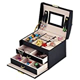 Wuligirl 3-Layer Mirrored Jewelry Box Lockable Travel Jewelry Storage Organizer Display Jewelry Earrings Rings Bracelets Case Black(3-Layer Jewelry Box)