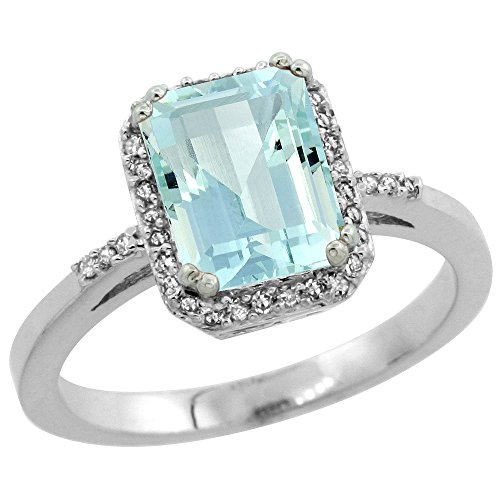 10K White Gold Diamond Natural Aquamarine Ring Emerald-cut 8x6mm, size 7