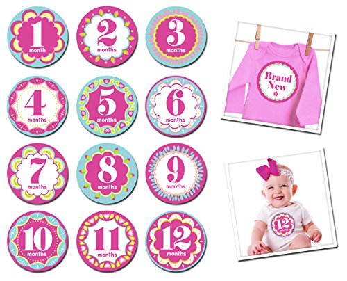 Sticky Bellies Baby Month Stickers - Kaliedoscope (Month Maternity T-shirt)