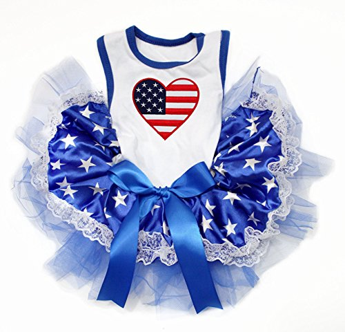 Petitebella USA Heart White Cotton Shirt Blue Stars Lace Tutu Puppy Dog Dress (X-Small)