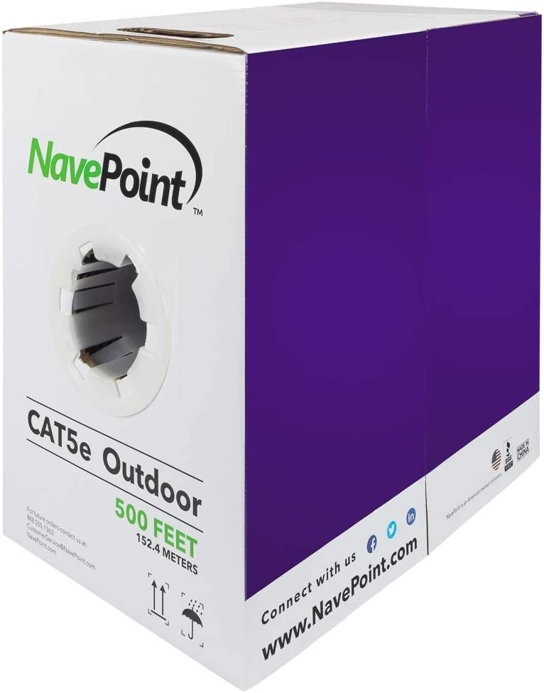 Bulk Ethernet Cable NavePoint CAT5e Outdoor Direct Burial Rated 500ft Solid Conductor UTP 24AWG 4 Pair Black Unshielded Twisted Pair