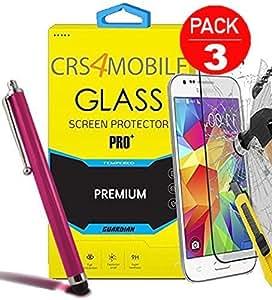 Pack de 3protectores de pantalla de cristal templado para Samsung Galaxy Note 3N9000de alta transparencia y ultra resistente incluye lápiz rosa antihuellas)