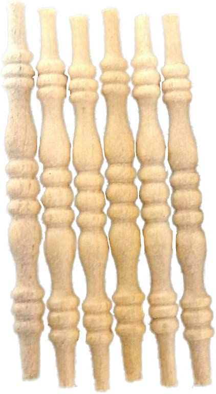 Dolls House 6 Natural Wood Turned Newel Posts Miniature DIY Timber 1:12 Scale