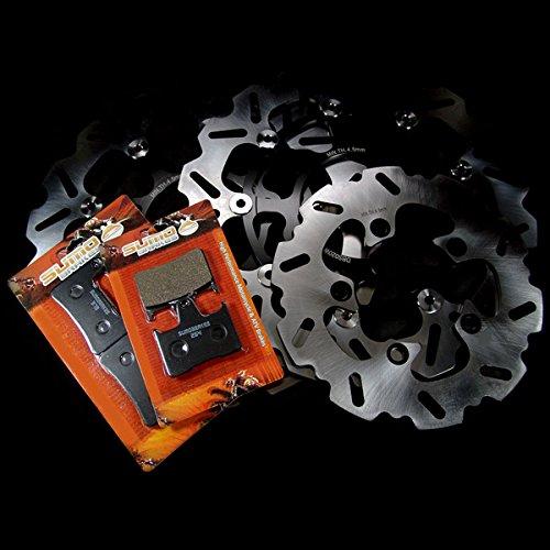 Sumo - Suzuki Front + Rear Race Proven Stainless Steel Brake Disc Rotor + Pads Combo for GSXR 1000 K5 / K6 (2005-2006) Street Bike