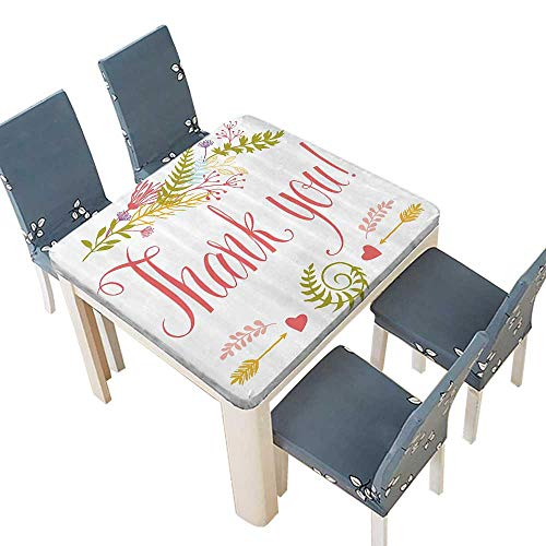 PINAFORE Waterproof SpillProof Tablecloth Romantic Thank You Quote Surrounded with Leaves Hearts and Arrows Artwork for Picnic,Outdoor or Indoor Party use 29.5 x 29.5 INCH (Elastic Edge) for $<!--$19.99-->