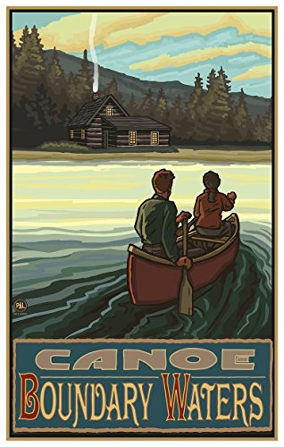 (Canoe Boundary Waters Lake Canoers Hills Travel Art Print Poster by Paul A. Lanquist (12