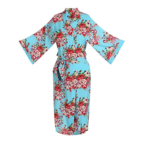 ellenwell Women's Cotton Long Floral Wedding Robe - Bridesmaids Dressing Gown (Larage,Sky-Blue) -