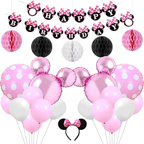 KREATWOW Pink Minnie Mouse Party Supplies Decorations Minnie Mouse Happy Birthday Banner Headband for Girls Birthday]()