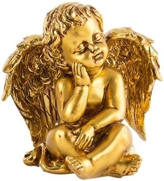 AVENUELAFAYETTE Figurine Statuette Ange dor/é Assis 13,5 cm Ange envoyant Baiser