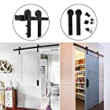 Hahaemall Straight Brackets Heavy Hanger Steel Bar Rail Sliding Barn Door Hardware Roller Track Kit Hanging Single Wooden Door Panel (5FT)