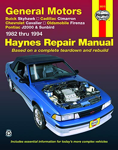 Buick Skyhawk Car - Haynes GM Buick Skyhawk, Cadillac Cimarron, Chevrolet Cavalier, Oldsmobile Firenza, Pontiac J2000 and Sunbird for 1982-1994 Repair Manual (38015)