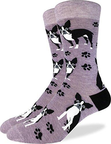 Good Luck Sock Mens Boston Terrier Crew Socks - Purple, Shoe Size 7-12
