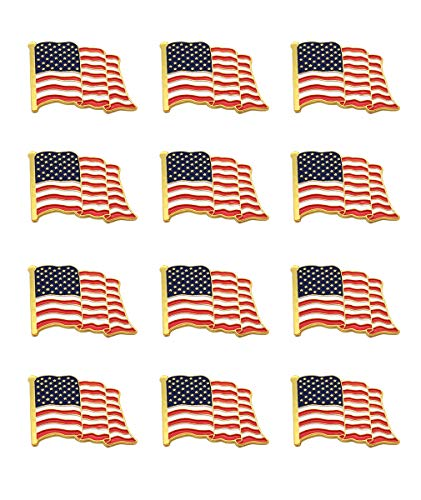 American Flag Lapel Pins | 12-USA Metal Enamel Waving Flag Pins US Patriotic Badge