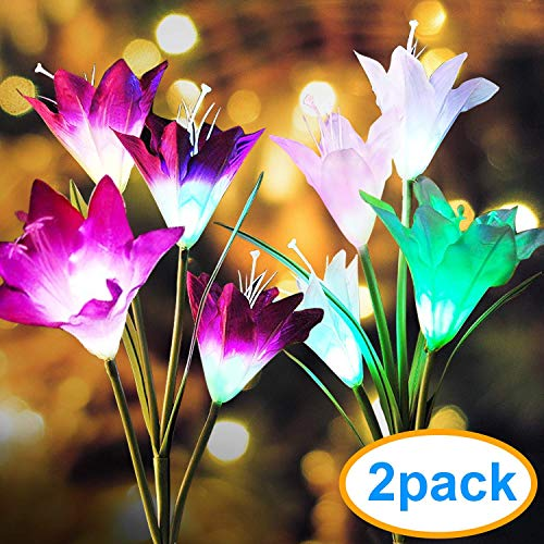 Outdoor Solar Garden Stake Lights, 2 Packs Solar Flower Lights with 8 Lily Flowers, Multi-Color Changing LED Solar Decorative Lights for Garden, Patio, Backyard (Purple and White)