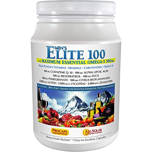 Andrew Lessman Multivitamin – Men's Elite-100 with Maximum Essential Omega-3 500 mg 120 Packets – 40+ Potent Nutrients, Essential Vitamins, Minerals, Phytonutrients and Carotenoids. No Additives
