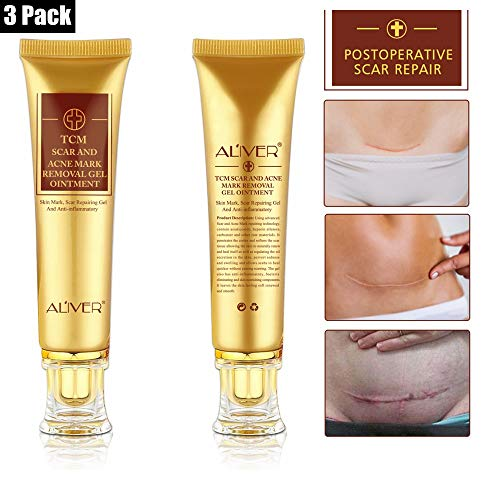 (3 Pack)TCM Scar and Acne Marks Removal Gel Ointment, Skin Repair Scars Burns Cuts Pregnancy Stretch Marks Acne Spots Skin Redness Treatment Cream for Face and Body