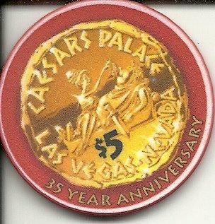$5 caesars palace 35th anniversary obsolete las vegas casino - Caesars Chip Palace