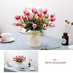 YILIYAJIA Artificial Tulips Flowers with Ceramics Vase Fake Tulip Bridal Bouquets Real Touch Flowers Arrangement for Home Table Wedding Office Decoration 5