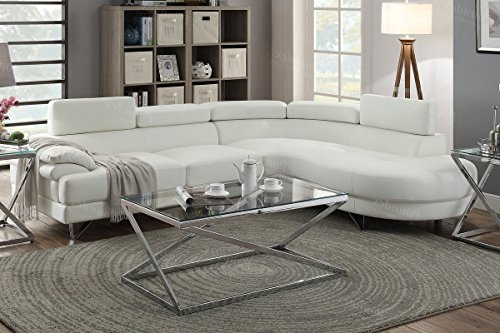 - 2PCS White Bonded Faux Leather Sectional Sofa Set White Color
