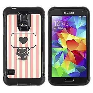 Hybrid Anti-Shock Defend Case for Samsung Galaxy S5 / Cute Stiped Cat & Heart