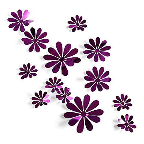 Purple Flowers Sticker - Richi 12 Pcs PVC 3D Removable Mirror Flowers Wall Stickers Room Art Decals Home Decors (Purple)