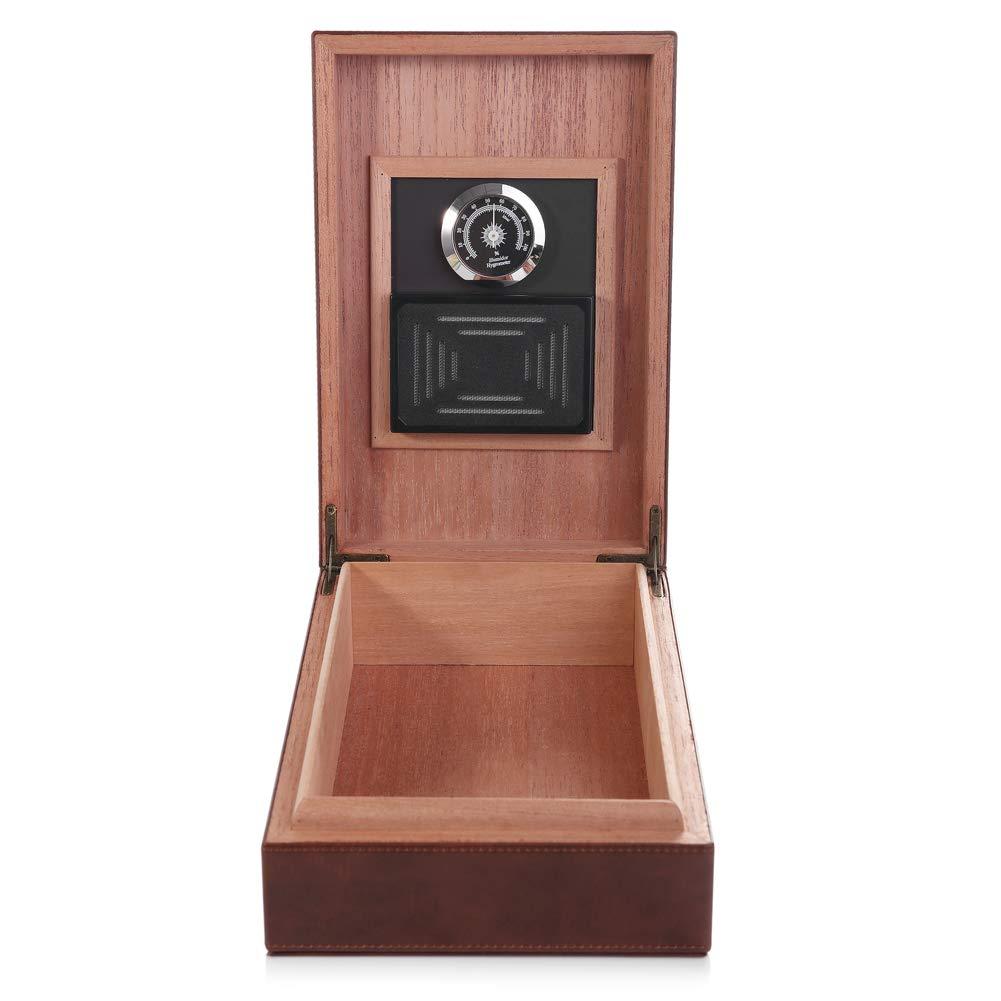 MEGACRA Cedar Cigar Humidor, Leather Cigar Box with Hygrometer and Humidifier Portable Travel Cigar Humidor Holds 10-20 Cigars