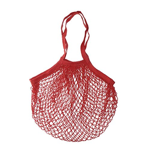 Yeefant Durable Reusable Fruit String Grocery Shopper Cotton Tote Mesh Woven Long Portable Convenient Shopping Net Shoulder Bag,Wear Resisting,Washable,Red from Yeefant Organizers