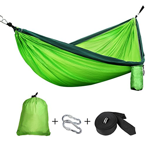 FEM0R Single & Double Camping Hammock, Lightweight Nylon Portable Hommock With Tree Straps, Parachute Outdoor Hammock for Backpacking, Camping, Travel, Beach, Yard. 118