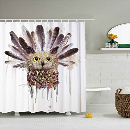 Owl Feather Shower Curtain Polyester Fabric Mildew Proof Waterproof Cloth Shower Room Decor 66x72