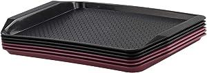 Leendines Plastic Food Serving Trays, 6 Packs, Black Red Dining Trays