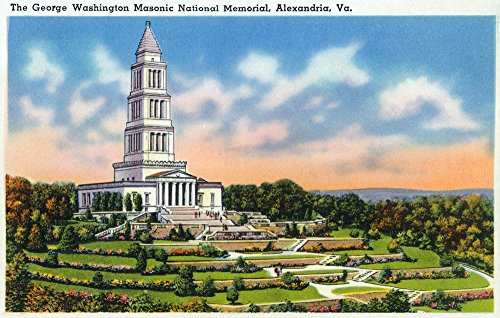Alexandria, Virginia - Panoramic View of the George Washington Masonic National Memorial (9x12 Art Print, Wall Decor Travel Poster)