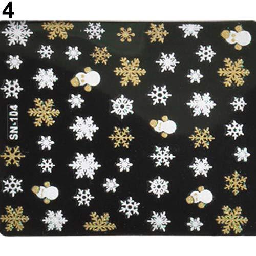 xxiaoTHAWxe Nail Art Sticker, Christmas Snowflakes Snowman 3D Nail Art Sticker Decal Girl Fingernail Accessory Golden (Snowman Jewels Christmas)