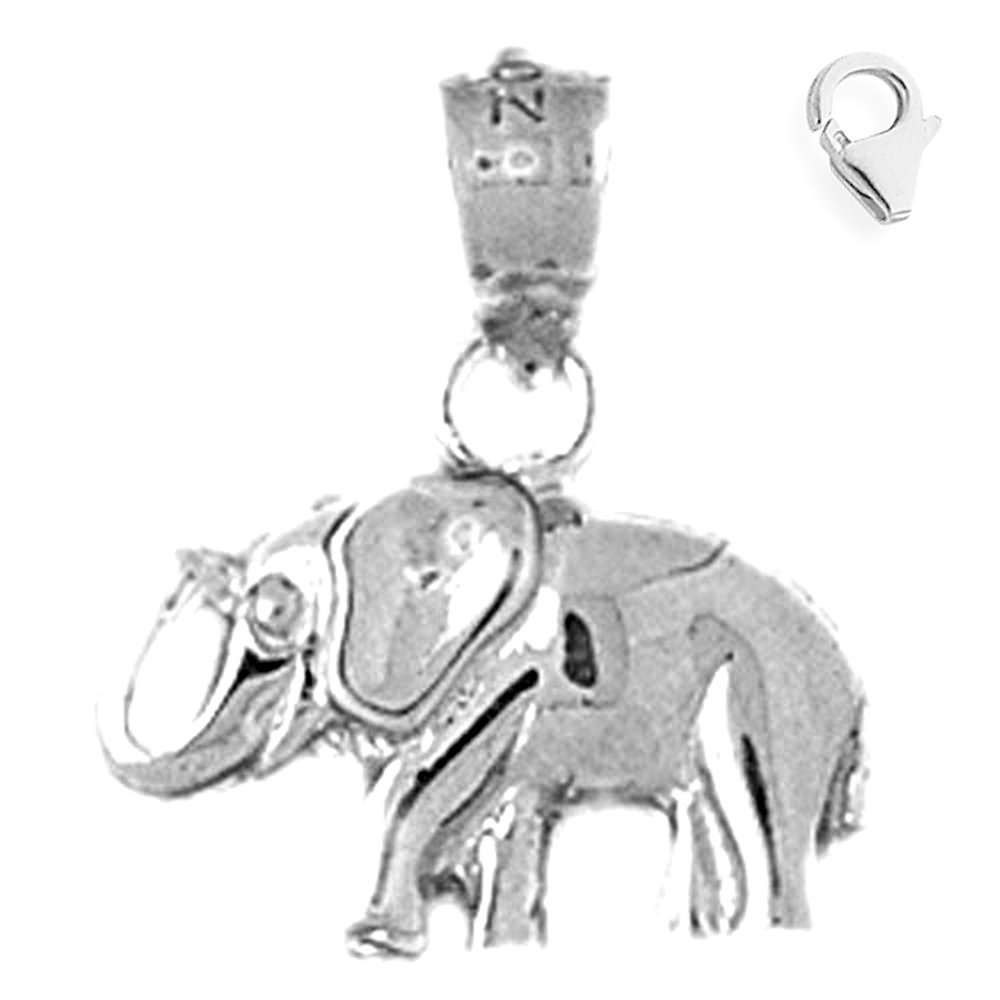 JewelsObsession Sterling Silver 18mm Elephant Charm w//Lobster Clasp