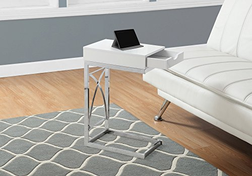 Monarch Accent Table with a Drawer, Glossy White
