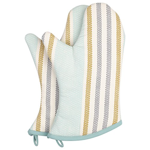 (Neoviva Cotton Canvas Quilting Heat Resistant Oven Mitts Set of 2, Style Vicky, Striped Clearwater Blue)