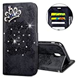 IKASEFU Galaxy J3 pro 2017 Case,3D Clear Crown Rhinestone Diamond Bling Glitter Wallet with Card Holder Emboss Mandala Floral Pu Leather Magnetic Flip Protective Cover for Samsung J3 pro 2017,Black