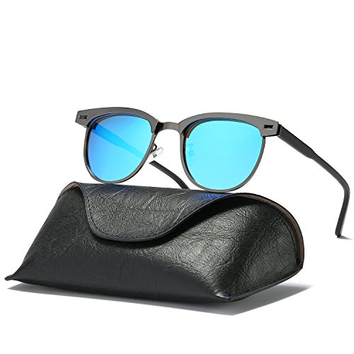Ray Parker Classic Clubmaster Horn Rimmed Semi Rimless with Polarized Lenses for Men Sunglasses RP6623 with Gun Metal Frame/Blue - Light Ray Clubmaster