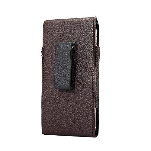 Litchi Leather Holster Card Holder Tasche Hüllen Schutzhülle - Case für iPhone 7 Plus/Huawei Mate 9 etc, Size: 16.5 x 8.1 x 1.5cm - Brown
