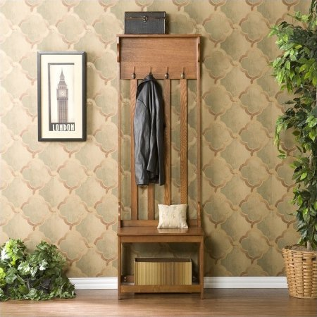 Elegant Hall Tree Entry Bench, Oak, Offers 4 Double Hanging Hooks and 1 Shelf, Mission Oak Finish, MDF, Veneer, Particle Board, Wood Grain by GAShop