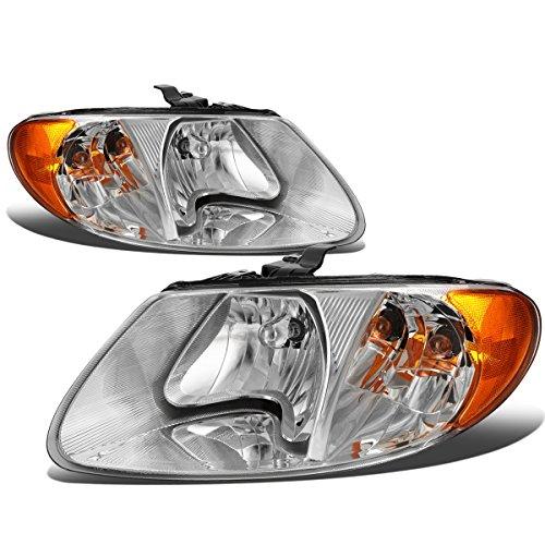 Dodge Grand Caravan / Chrysler Town & Country Pair of Chrome Housing Amber Corner Headlights (Housing Voyager Headlight)