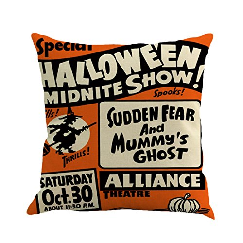 Unigift Halloween Theme 18 X 18 Inch Linen Pillow Cover Cushion Case Happy Halloween Pumpkin for Home Bedding Car Sofa Office Decoration. (Midnite Show) -