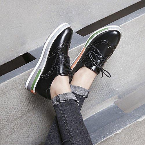 Mujer Plataforma Zapatillas Vacaciones Rojo Bullock De Color Zapatos Oscuro Linyi Black Deporte Informales UpwFxZZ