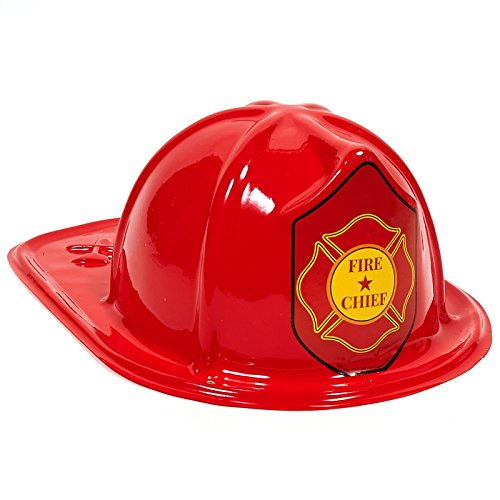 Child Size Plastic Fire Chief Hat (Child Size Red Plastic Fire Chief Hats (8))