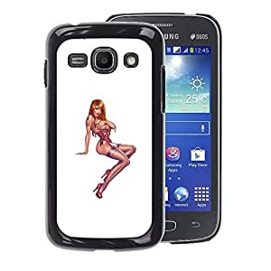 A-type Arte & diseño plástico duro Fundas Cover Cubre Hard Case Cover para Samsung Galaxy Ace 3 (Pin Up Model Girl Chick White Pink Stockings)