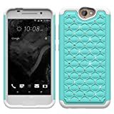 HTC ONE A9 DIAMOND PHONE CASE BLING DESIGNED WITH RHINESTONES AND RUBIES/SPARKLE STYLE/HYBRID DUAL LAYER PROTECTION TECHNOLOGY (BABY BLUE)