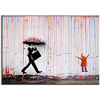 Amazon Com Dvq Art Framed Art Colorful Rain Prints