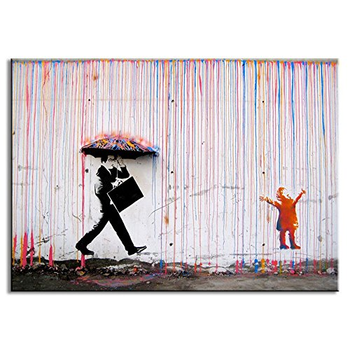 DVQ Art-Banksy Art Colorful Rain Prints Paintings Modern Canvas Wall Art With Frames For Home Decorative Picture (24x36inch(60x90cm))