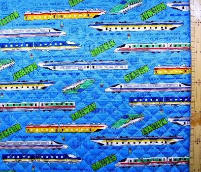 <プリント・キルティング生地>スーパー・エクスプレス(ブルー)#2 (乗り物 電車 新幹線 JR かわいい おしゃれ 男の子 女の子 子供 入園 入学 ピロル)の商品画像